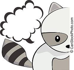 Cute Raccoon - Cute illustration of a raccoon and speech...