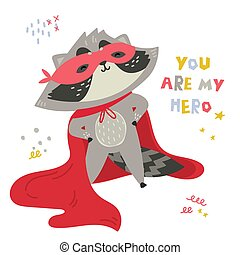 Cute raccoon in superhero costume.