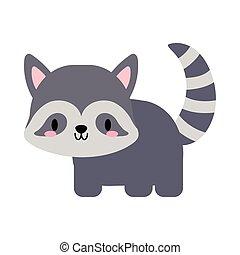 cute raccoon kawaii, flat style icon