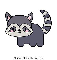 cute raccoon kawaii, line and fill style icon