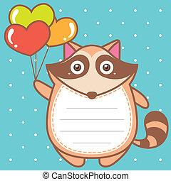 cute raccoon of scrapbook background.