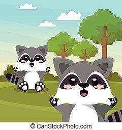 cute raccoon wild animal character icon