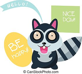 Cute Raccoon with a sign for text
