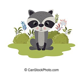 cute raccoon with background landscape