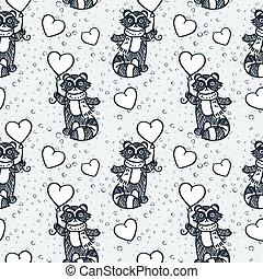 Cute raccoon with balloon. Cartoon hand drawn vector illustration