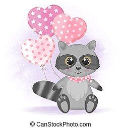 Cute raccoon with balloon hand drawn cartoon illustration