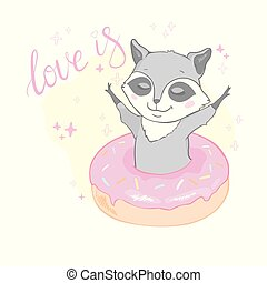 Cute raccoon with big tasty donut