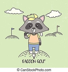 Cute Raccoons Playing Golf. Vector Illustration, ready for print.