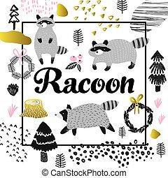 Cute Racoon Hand Drawn Design. Childish Animals Background...