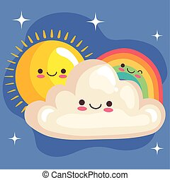 cute rainbow and cloud with sun stickers kawaii characters