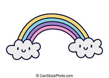 cute rainbow clouds kawaii fantasy cartoon character