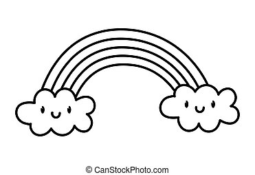 cute rainbow clouds kawaii fantasy cartoon character thick line