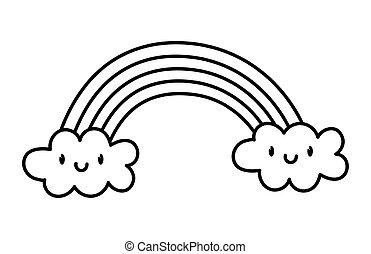 cute rainbow clouds kawaii fantasy cartoon character thick line