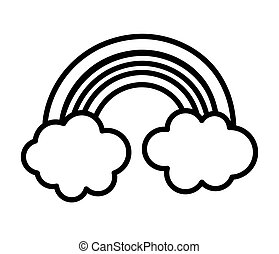 cute rainbow clouds sky fantasy icon thick line