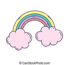 cute rainbow clouds sky fantasy icon