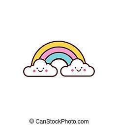 cute rainbow kawaii comic character icon