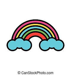cute rainbow pop art flat style