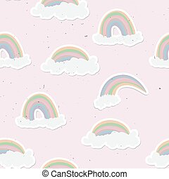 Cute rainbow seamless pattern. Sweet rainbow and clouds background