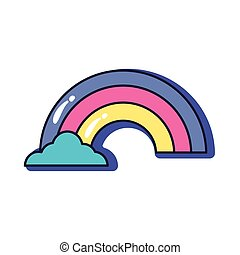cute rainbow slang line and fill style icon