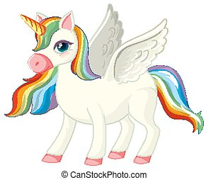 Cute rainbow unicorn in standing position on white background