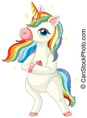 Cute rainbow unicorn in standing position on white background illustration