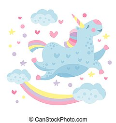 Cute Rainbow Unicorn in the Clouds. Vector Illustration.