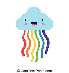 cute rainbow weather with cloud kawaii flat style icon