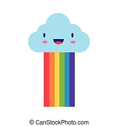 cute rainbow weather with cloud kawaii flat style icon