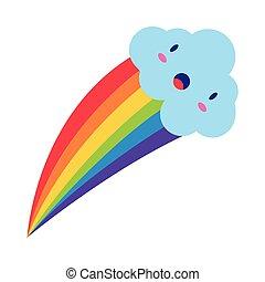 cute rainbow weather with cloud kawaii flat style