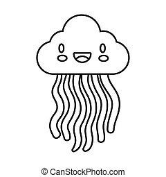 cute rainbow weather with cloud kawaii line style icon