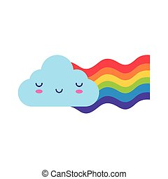 cute rainbow weather with cloud kawaii style flat icon