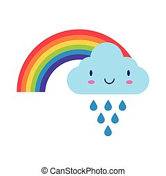 cute rainbow weather with cloud rainy kawaii flat style icon
