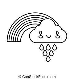 cute rainbow weather with cloud rainy kawaii line style icon