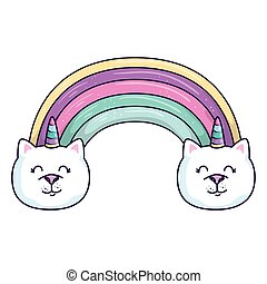 cute rainbow with cats unicorns isolated icon