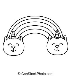 cute rainbow with cats unicorns line style icon