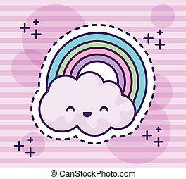 cute rainbow with cloud kawaii style