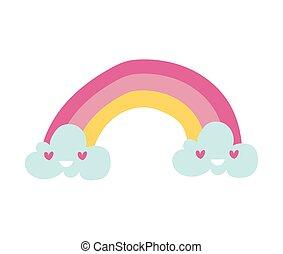cute rainbow with cloud kawaii