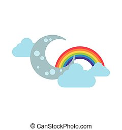 cute rainbow with clouds and crescent moon flat style icon