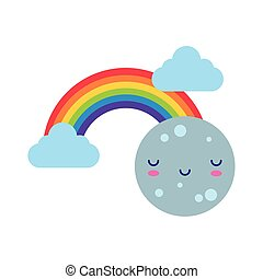 cute rainbow with clouds and moon kawaii flat style icon
