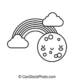 cute rainbow with clouds and moon kawaii line style icon