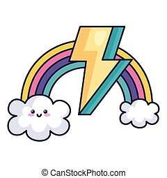 cute rainbow with clouds and thunderbolt kawaii style