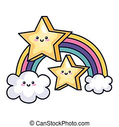 cute rainbow with clouds ans stars kawaii style