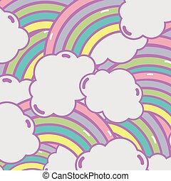 cute rainbow with clouds background design