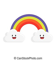 cute rainbow with clouds character