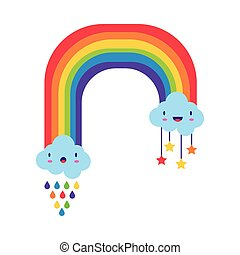 cute rainbow with clouds kawaii characters and drops rain flat style icon