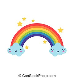 cute rainbow with clouds kawaii characters and stars flat style icon