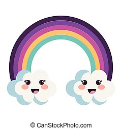 cute rainbow with clouds kawaii characters