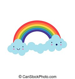 cute rainbow with clouds kawaii characters weather flat style icon