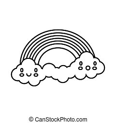 cute rainbow with clouds kawaii characters weather line style icon