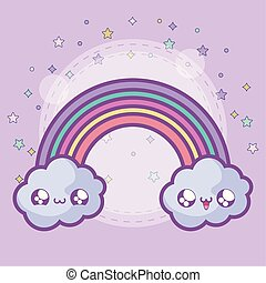cute rainbow with clouds kawaii style